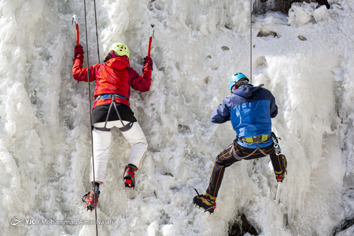 Ice climbing in Hamadan's Ganjnameh waterfall
