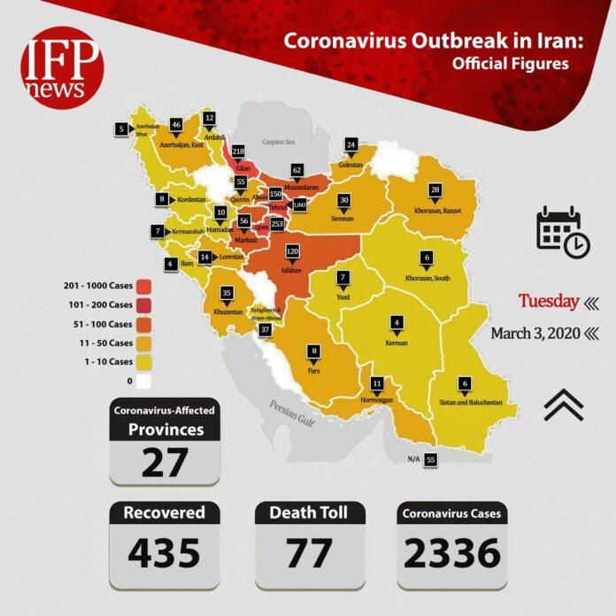 Iran Confirms 835 New Cases of Coronavirus, 11 More Deaths