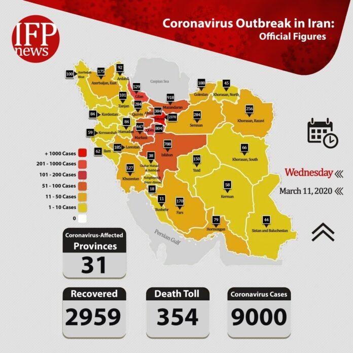 Coronavirus in Iran: 9,000 Infected, 354 Dead