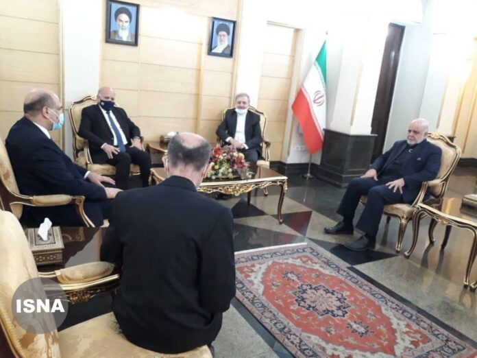 Iraqi Foreign Minister Fuad Hussein arrives in Tehran on Sep. 26, 2020