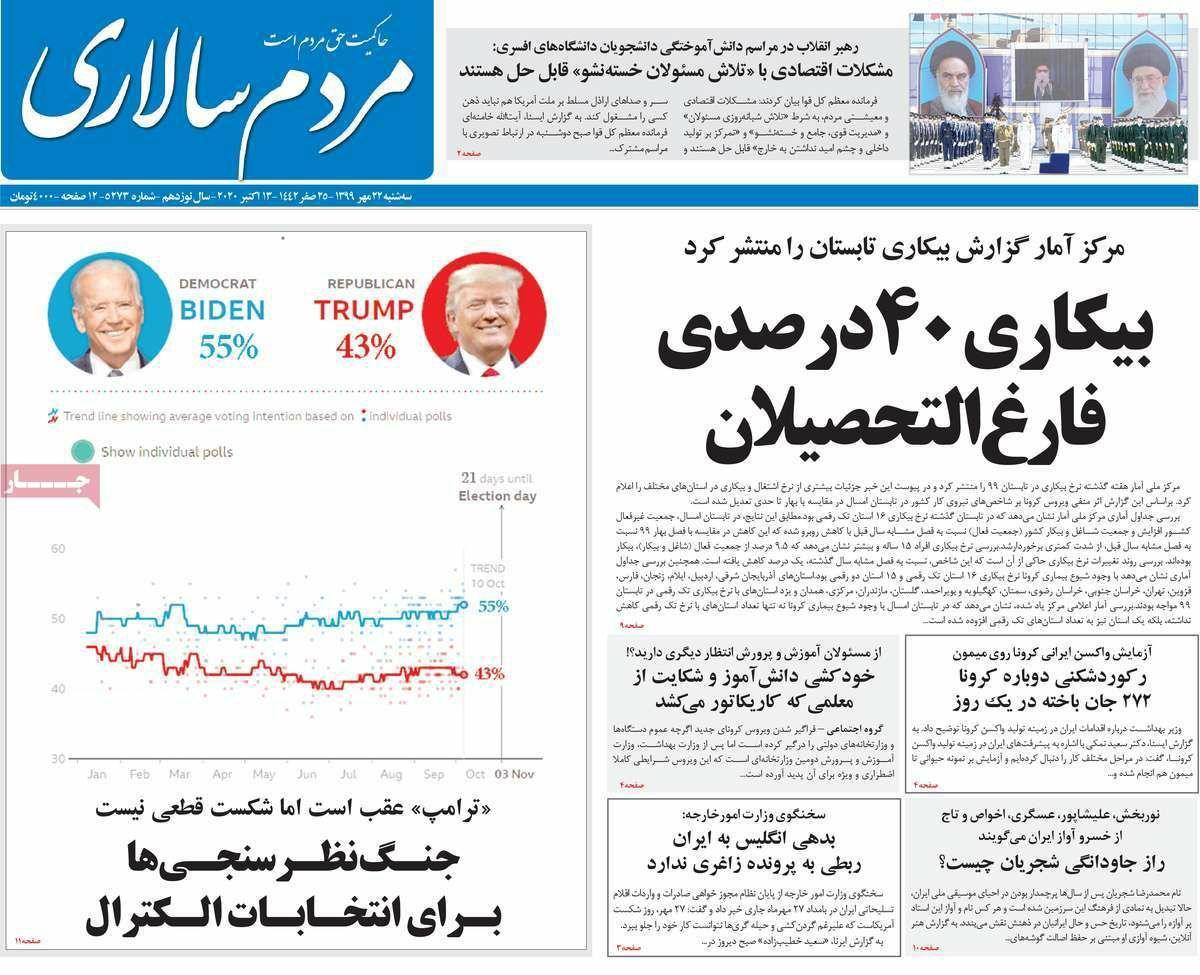 Uma olhada nas primeiras páginas dos jornais iranianos em 13 de outubro 10